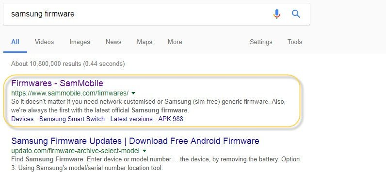 Find Firmware Galaxy S9