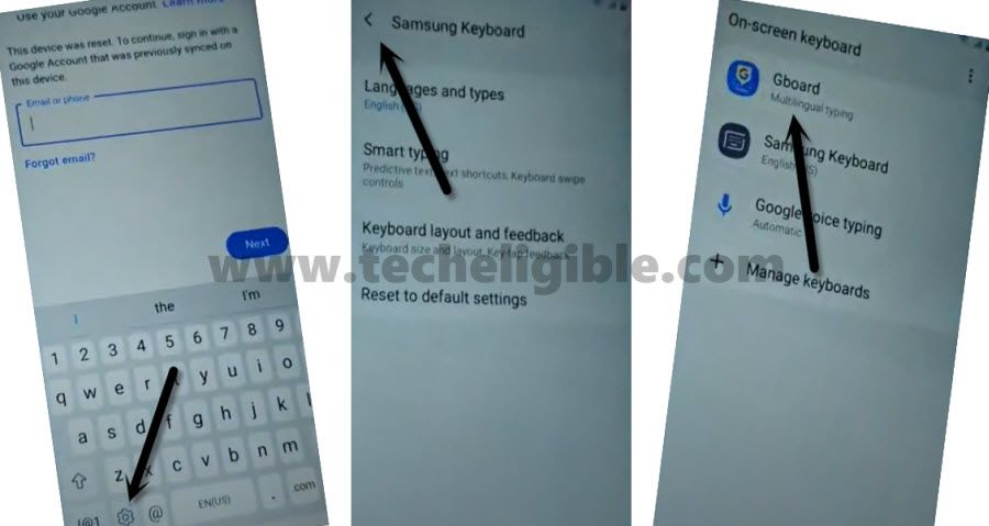 Access to Samsung Keyboard to bypass frp Galaxy M01