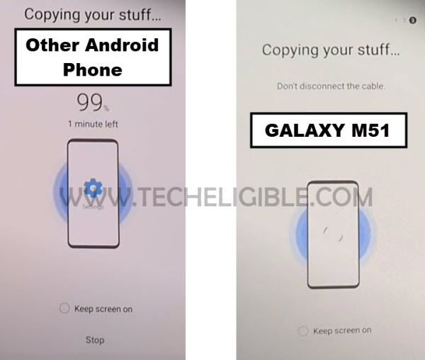 Data is being copied to Samsung M51 to Bypass frp Samsung M51