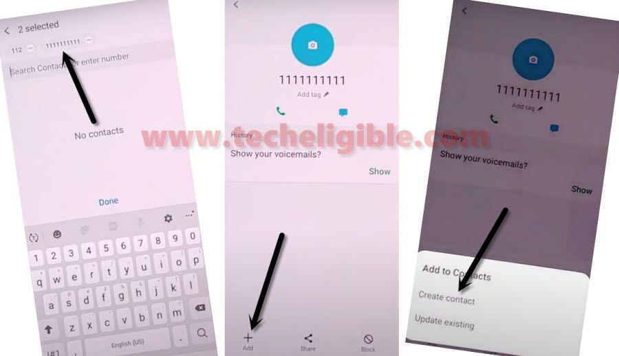 Create New Contact in Samsung A50 to bypass frp