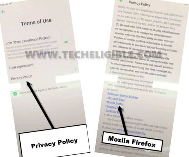go to privacy policy to bypass frp oppo reno 2f