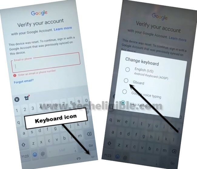 long tap keyboard icon, and select Gboard to bypass frp infinix S5