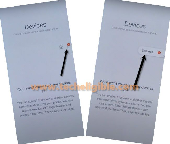 tap 3 dots from Devices screen to Remove FRP Samsung A31