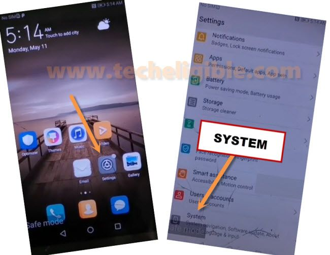 go to system of huawei mate 9 to bypass frp