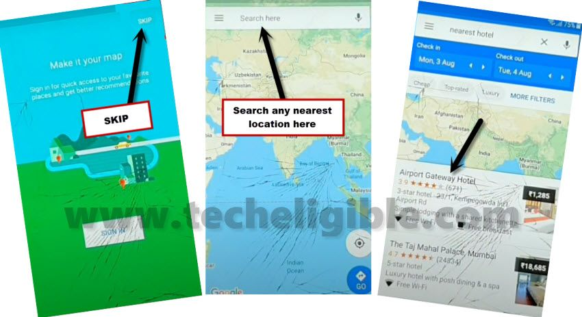 search nearest location in google map to bypass frp Samsung Galaxy ON8