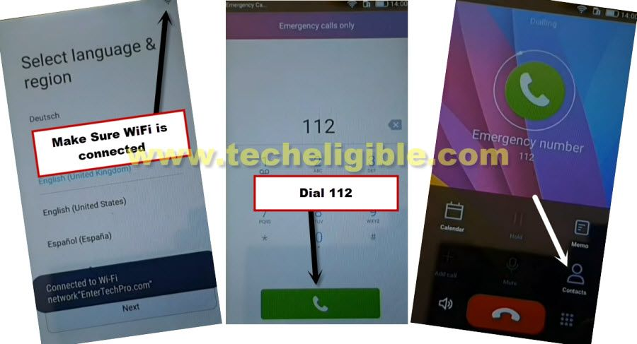 Dial 112 emergency number to Bypass Google Account Huawei Y3II without PC