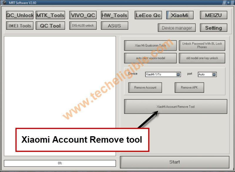click on xiaomi account remove tool button to bypass google account xiaomi redmi y2