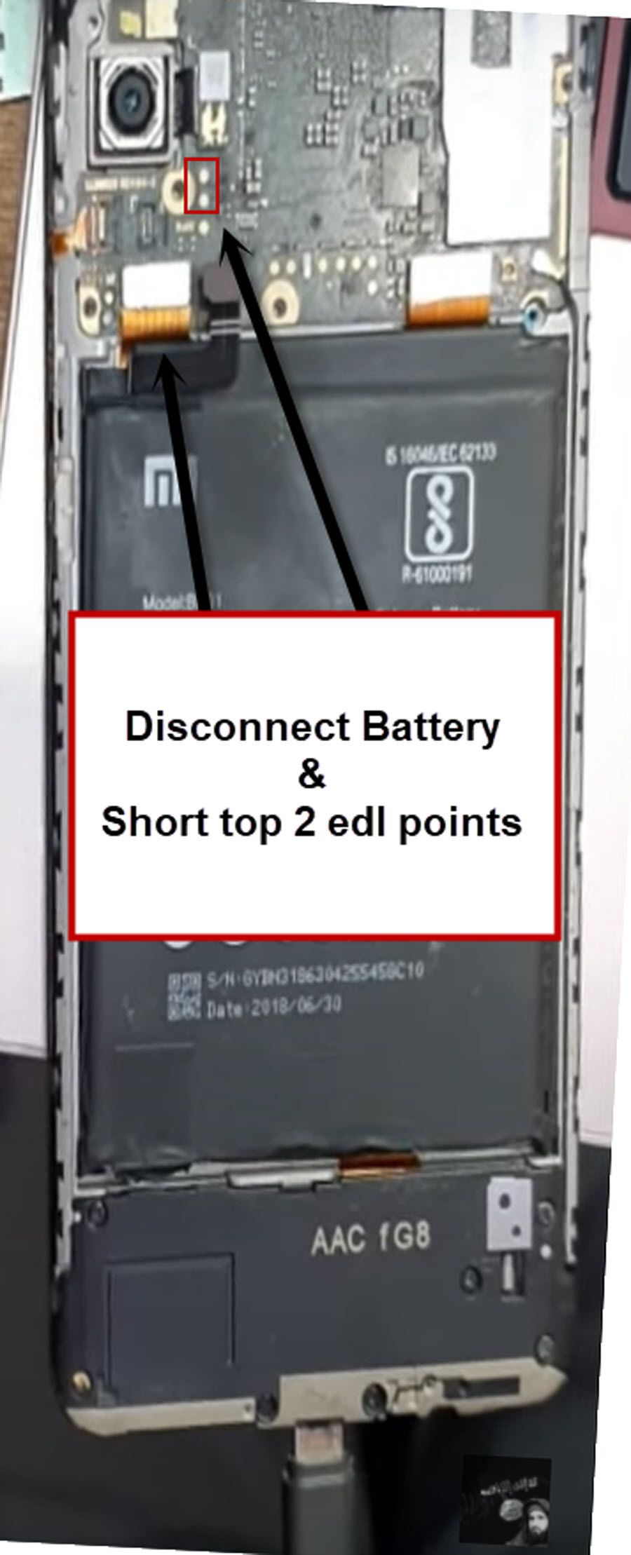 short 2 edl points in redmi y2 to bypass google account