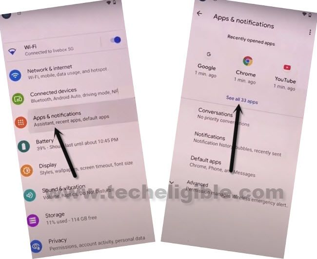 access to app list from apps and notifications