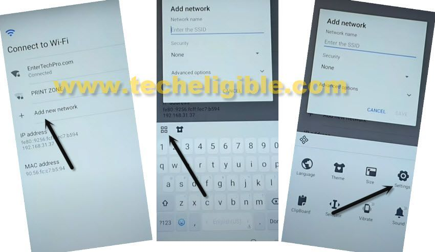 access to settings from add network wifi to Tecno Spark Go Plus FRP Remove