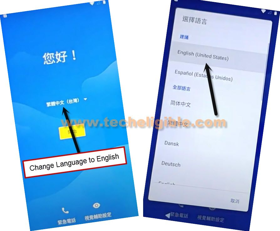 change language to english from chinese to bypass frp moto E6s