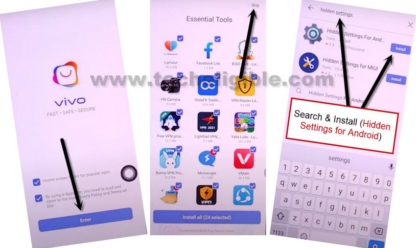 search hidden settings from app store to bypass google account vivo v19