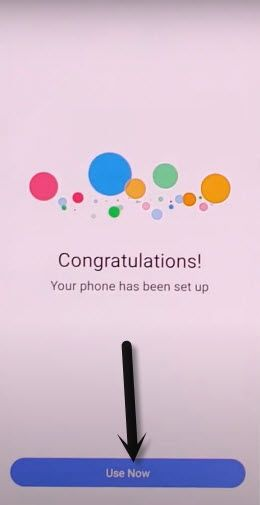 tap to use now from congratlation screen vivo frp bypass