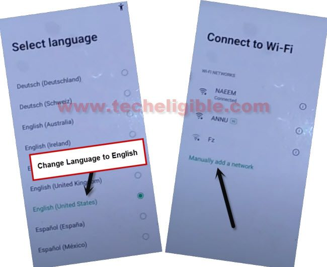 change language to english and access to WiFi screen