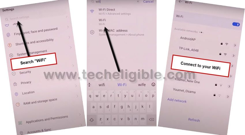 search and connect wifi in vivo mtk