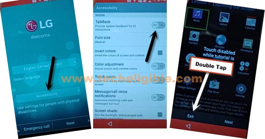 Turn on talkback to bypass frp LG Escape 2 without pc