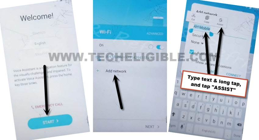 go to assist from add network screen to Remove frp Samsung J3 Emerge without PC