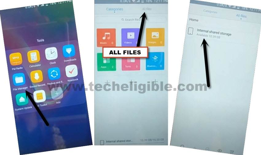 go to download folder via file manager to to bypass frp tecno f3