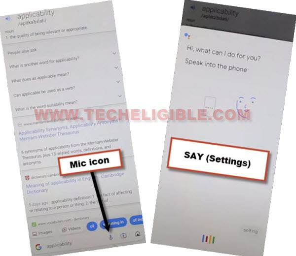 TAP TO Mic icon to go to settings to bypass frp nokia C20