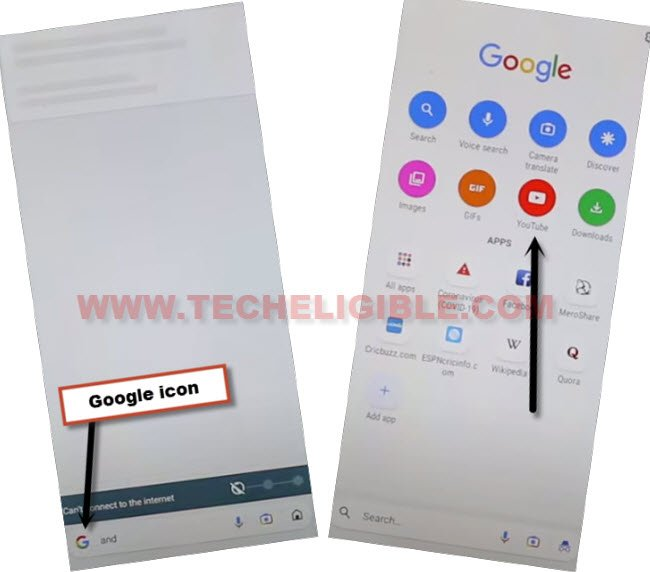 Tap to google icon to and then youtube icon to bypass frp Nokia C20 without PC