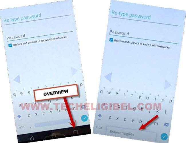 go to browser sign in from retype password to bypass frp Qmobile Noir LT300