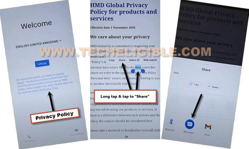 tap to privacy policy from lets go screen to Bypass frp Nokia 5.3 Android 11