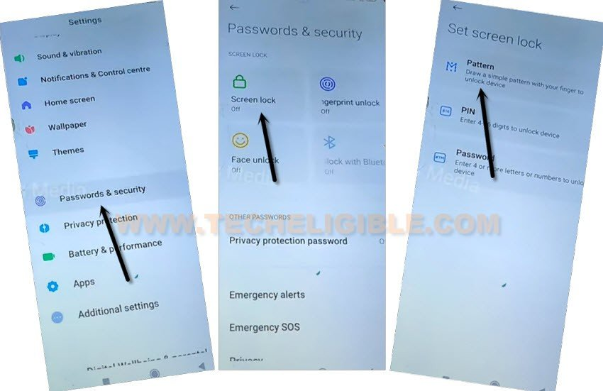setup new pattern lock from password and security to tap to account and sync to remove frp Xiaomi Redmi 9 Power